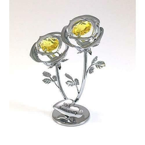 CrystoCraft 50th Anniversary Chrome Plated Double Rose with Swarovski Crystals